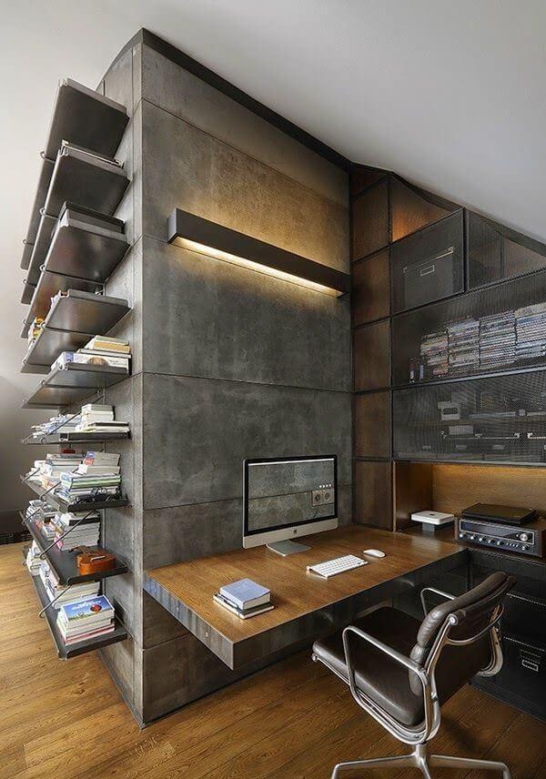 Piso de maneira e parede de cimento queimado: proporção ideal para manter o estilo industrial e garantir o conforto do ambiente
